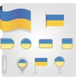 The Ukrainian flag - set of icons and flags vector image