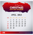 2019 april calendar template merry christmas and vector image vector image