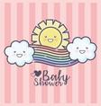 baby shower cartoon rainbow clouds sun sky pink vector image vector image