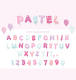 balloon font design in pastel colors cute abc vector image vector image