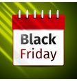 Black friday sale calendar on green background vector image vector image
