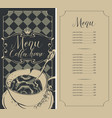 checkered menu for coffee house with price and cup vector image vector image