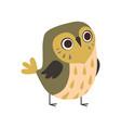 cute adorable owlet bird cartoon character vector image vector image