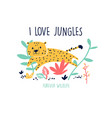 cute leopard print design with slogan vector image vector image