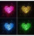 Disco neon heart vector image vector image