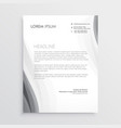 elegant gray wave letterhead abstract design vector image vector image
