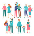 family couples father and mother with children vector image vector image