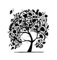 floral tree black silhouette for your design vector image vector image