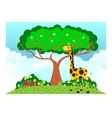 giraffe under tree in sunny weather vector image vector image