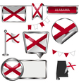 Glossy icons with Alabamian flag vector image