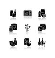 grocery sections drop shadow black glyph icons set vector image vector image