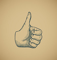 Hand draw sketch vintage thumbs up vector image