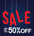 hanging sale up to 50 off image vector image vector image