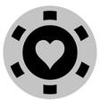 hearts suit black casino chip vector image