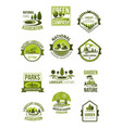 icons of nature landscape and green company vector image vector image
