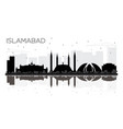 islamabad pakistan city skyline black and white vector image vector image