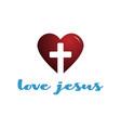 modern love heart christian cross religion icon vector image