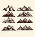 mountains set hand drawn rough objects vector image vector image