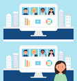 online school or office team business meeting vector image