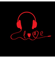 Red headphones Black background Love card vector image vector image