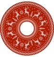 Red knitted deers circle pattern vector image vector image