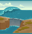 sea landscape with dam and large wave vector image
