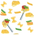 Seamless cartoon background with pasta vector image