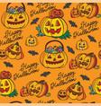 seamless pattern halloween pumpkins on orange vector image vector image
