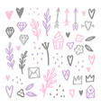 Set of love romantic design elements