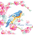 Spring Card with Watercolor flowers and pigeons vector image vector image