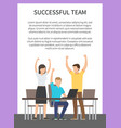 successful team banner frame vector image vector image