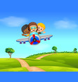 three boy flying a plane vector image vector image