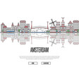 travel amsterdam poster in linear style vector image vector image