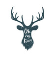 trendy poster with deer silhouette and lettering vector image vector image