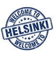 welcome to helsinki blue round vintage stamp vector image vector image