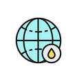 world with drop flat color line icon vector image vector image