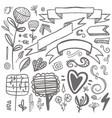 set of hand-drawn decorative elements wedding vector image