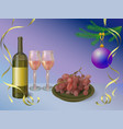 wine bottle with glasses and red grapes - happy vector image