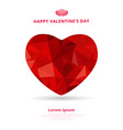 3d origami heart low polygon design shadow for vector image