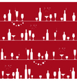 Holiday seamless pattern with glasses and bottles vector image