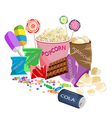 A Collection of Various Cinema Foods vector image