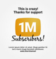 1m subscribers golden button celebration vector image