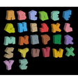 3D graffiti color fonts alphabet over black vector image vector image