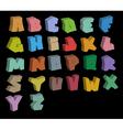 3D graffiti color fonts alphabet over black vector image vector image
