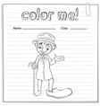 A coloring worksheet with a man vector image vector image