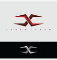 alphabet letter x logo logotype metal steel vector image