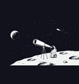 astronaut looks through the telescope to universe vector image vector image