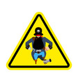 attention pirate yellow warning sign rover vector image vector image