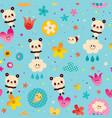 baby panda bears seamless pattern vector image vector image