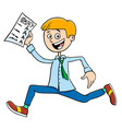 boy with school certificate or grade report vector image vector image